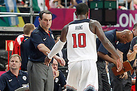 USA's coach Mike Krzyzewski  and Kyrie Irving during 2014 FIBA Basketball World Cup Round of 16 match.September 6,2014.(ALTERPHOTOS/Acero)