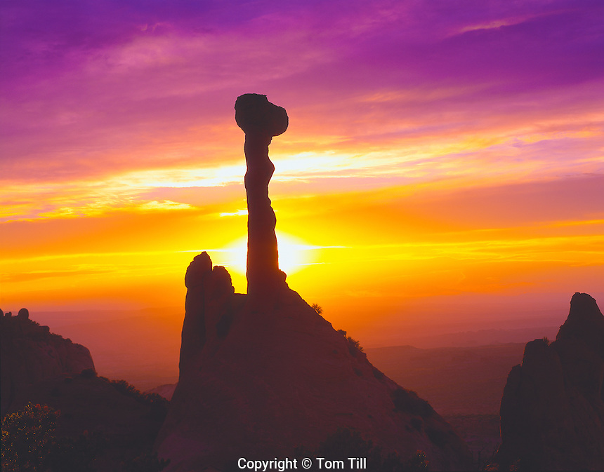 "Spire at sunset, Proposed La Sal Waters Wilderness, Utah  Called ""the Olympic Torch"" or ""Elvis' Hammer""   Near Moab, Utah"