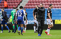 Bolton Wanderers' manager Phil Parkinson applauds his side's travelling supporters at the end of the match <br /> <br /> Photographer Andrew Kearns/CameraSport<br /> <br /> The EFL Sky Bet Championship - Wigan Athletic v Bolton Wanderers - Saturday 16th March 2019 - DW Stadium - Wigan<br /> <br /> World Copyright &copy; 2019 CameraSport. All rights reserved. 43 Linden Ave. Countesthorpe. Leicester. England. LE8 5PG - Tel: +44 (0) 116 277 4147 - admin@camerasport.com - www.camerasport.com