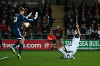 Thursday 24 October 2013  <br /> Pictured: Michu gets the ball past keeper Aleksandr Belenov during the second half<br /> Re:UEFA Europa League, Swansea City FC vs Kuban Krasnodar,  at the Liberty Staduim Swansea