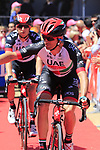 UAE Emirates team arrive to sign on at Arbatax before Stage 3 of the 100th edition of the Giro d'Italia 2017, running 148km from Tortoli to Cagliari, Sardinia, Italy. 7th May 2017.<br /> Picture: Eoin Clarke | Cyclefile<br /> <br /> <br /> All photos usage must carry mandatory copyright credit (&copy; Cyclefile | Eoin Clarke)