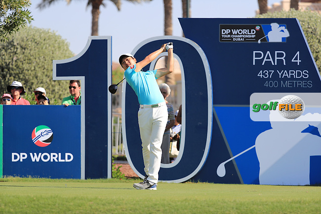 Soomin Lee (KOR) on the 10th tee during round 2 of the DP World Tour Championship, Jumeirah Golf Estates, Dubai, United Arab Emirates. 18/11/2016<br /> Picture: Golffile | Fran Caffrey<br /> <br /> <br /> All photo usage must carry mandatory copyright credit (&copy; Golffile | Fran Caffrey)