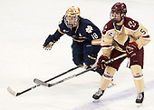 Jake Evans (Notre Dame - 18), Casey Fitzgerald (BC - 5) - The Boston College Eagles defeated the University of Notre Dame Fighting Irish 6-4 (EN) on Saturday, January 28, 2017, at Kelley Rink in Conte Forum in Chestnut Hill, Massachusetts.The Boston College Eagles defeated the University of Notre Dame Fighting Irish 6-4 (EN) on Saturday, January 28, 2017, at Kelley Rink in Conte Forum in Chestnut Hill, Massachusetts.