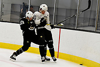 June 28, 2018: Boston Bruins forward Mitchell Fossier (81) and defenseman Axel Andersson (49) battle for the puck in the corner during the Boston Bruins development camp held at Warrior Ice Arena in Brighton Mass. Eric Canha/CSM