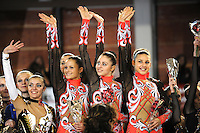 November 8, 2008; Durango, Spain (near Bilbao); Rhythmic gymnasts from Ukraine senior group wave to fans to celebrate 1st place win during awards ceremony at 2008 Euskalgym International..