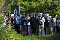 Fans on day one of the 2017 Asia-Pacific Amateur Championship day one at Royal Wellington Golf Club in Wellington, New Zealand on Thursday, 26 October 2017. Photo: Dave Lintott / lintottphoto.co.nz