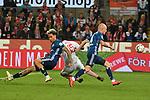 15.04.2019, RheinEnergieStadion, Koeln, GER, 2. FBL, 1.FC Koeln vs. Hamburger SV ,<br />  <br /> DFL regulations prohibit any use of photographs as image sequences and/or quasi-video<br /> <br /> im Bild / picture shows: <br /> Jhon C&oacute;rdoba (FC Koeln #15),   wird wieder mal von L&eacute;o Lacroix (HSV #2), und Rick van Drongelen (HSV #4), in die Mangel genommen<br /> <br /> Foto &copy; nordphoto / Meuter