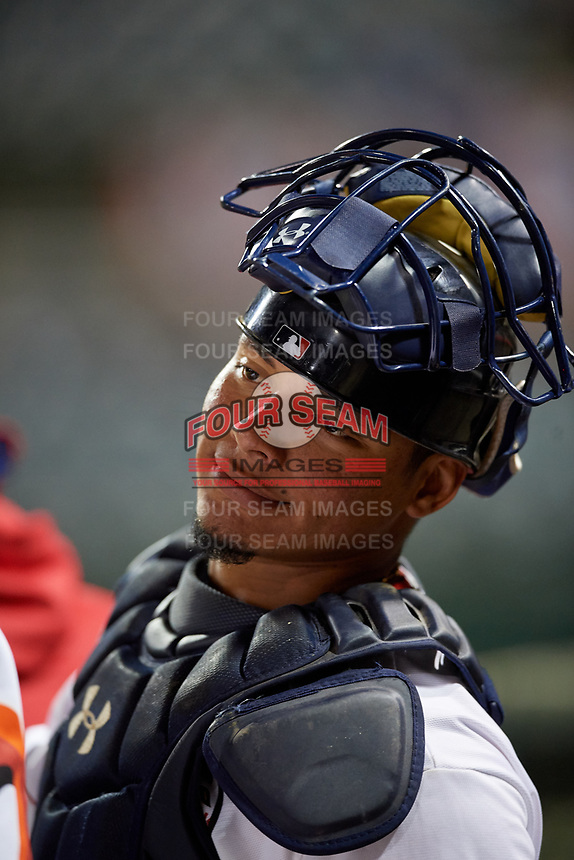 Florida Fire Frogs catcher William Contreras (27) during a Florida State League game against the Jupiter Hammerheads on April 8, 2019 at Osceola County Stadium in Kissimmee, Florida.  Florida defeated Jupiter 7-6 in ten innings.  (Mike Janes/Four Seam Images)