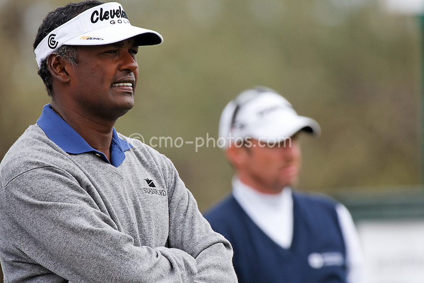 Feb 22, 2008; Marana, AZ, USA; Vijay Singh contemplates his tee shot on the second hole of his third round match against Rod Pampling at the Accenture Match Play Championship at the Gallery Golf Club.