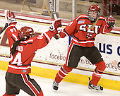 Vanessa Emond (SLU - 14), Ellie Williams (SLU - 24) - The Boston College Eagles defeated the visiting St. Lawrence University Saints 6-3 (EN) in their NCAA Quarterfinal match on Saturday, March 10, 2012, at Kelley Rink in Conte Forum in Chestnut Hill, Massachusetts.