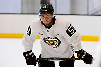 September 15, 2017: Boston Bruins center Ryan Spooner (51) waits to drill during the Boston Bruins training camp held at Warrior Ice Arena in Brighton, Massachusetts. Eric Canha/CSM