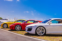 Audis and Ferraris on the track at Exotic Rides Mexico. Exotic Rides Mexico gives guests the opportunity to drive the most exotic and exclusive cars in the world on a 1.1 mile private race track in Cancun, Quintana Roo, Mexico.