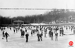 Ice skaters on the frozen pond at Fulton Park in Waterbury, circa 1931.
