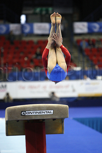 Dorina Diana Rusu of Romania competes at the vault during the juniors women apparatus final at the European Artistic Gymnastics Championship at National Indoor Arena in Birmingham, UK on May 2, 2010.