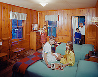 American Legion Mountain Resort. Family in their motel room
