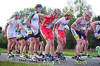INLINE-SKATEN: STEENWIJK: Gagelsweg (start/finish), Schansweg, Meppelerweg, KPN Inline Cup, Klim van Steenwijk, 02-05-2012, Gary Hekman (#92), Niels Steenbakker (#57), Roy Boeve (#25), Roy Mulder (#60), ©foto Martin de Jong