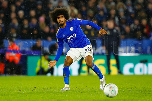 8th January 2020; King Power Stadium, Leicester, Midlands, England; English Football League Cup Football, Carabao Cup, Leicester City versus Aston Villa; Hamza Choudhury of Leicester City - Strictly Editorial Use Only. No use with unauthorized audio, video, data, fixture lists, club/league logos or 'live' services. Online in-match use limited to 120 images, no video emulation. No use in betting, games or single club/league/player publications