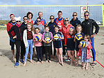 Cllr Sharon Tolan with Marie-Claire Sabogal Secretary, Miriam Gormally President from Beach Volleyball Ireland and players at the launch of the volleyball competitions on Bettystown beach. Photo:Colin Bell/pressphotos.ie
