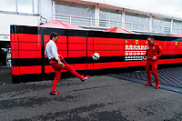 18th July 2020, Hungaroring, Budapest, Hungary; F1 Grand Prix of Hungary, qualifying sessions;  16 Charles Leclerc MCO, Scuderia Ferrari Mission Winnow plays football to relax
