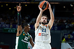 Real Madrid Sergio Llull and Panathinaikos Kenny Gabriel during Turkish Airlines Euroleague Quarter Finals 3rd match between Real Madrid and Panathinaikos at Wizink Center in Madrid, Spain. April 25, 2018. (ALTERPHOTOS/Borja B.Hojas)