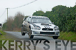 Full flight.Thomas Fitzmaurice(Abbeydorney)in his newly acquired Subaru WRC S10 with Tralee's Fionn Foley navigating,blast their way over a big jump on stage 5 last Sunday at the Galway International Rally..