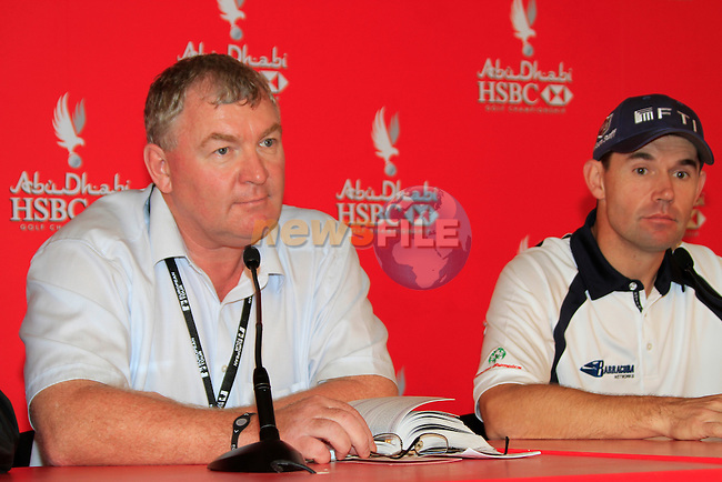 Padraig Harrington and Senior Tour Referee Andy McFee gives a press conference after being disqualified from the tournament for his ball moving unknown to him on the previous days play of the Abu Dhabi HSBC Golf Championship, 21st January 2011..(Picture Eoin Clarke/www.golffile.ie)