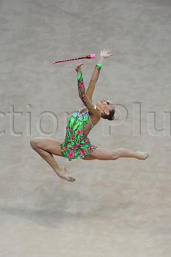 13.04.2014.  Pesaro, Italy. The FIG Rhythmic Gymnastic World Cup Series. Yana Kudyatseva wins the gold medal for the clubs apparatus final.