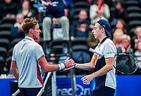 Alphen aan den Rijn, Netherlands, December 15, 2018, Tennispark Nieuwe Sloot, Ned. Loterij NK Tennis,  Semifinal men: Scott Griekspoor (NED)  (L) defeats his brother Tallon and gets congratulated.<br /> Photo: Tennisimages/Henk Koster