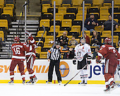 Alex Fallstrom (Harvard - 16), Alex Killorn (Harvard - 19), Alex Dell, Drew Daniels (Northeastern - 24) - The Harvard University Crimson defeated the Northeastern University Huskies 3-2 in the 2012 Beanpot consolation game on Monday, February 13, 2012, at TD Garden in Boston, Massachusetts.