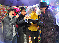 "NEW YORK - DECEMBER 31: Ken Jeong, Nicole Scherzinger, Maria Menounos, and Steve Harvey on ""FOX'S New Years Eve with Steve Harvey: Live From Times Square"" on December 31, 2018 in New York City. (Photo by Stephen Smith/Fox/PictureGroup)"