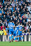 Players of RC Deportivo La Coruna celebrates teammate Adrian Lopez Alvarez's goal during the La Liga 2017-18 match between Real Madrid and RC Deportivo La Coruna at Santiago Bernabeu Stadium on January 21 2018 in Madrid, Spain. Photo by Diego Gonzalez / Power Sport Images