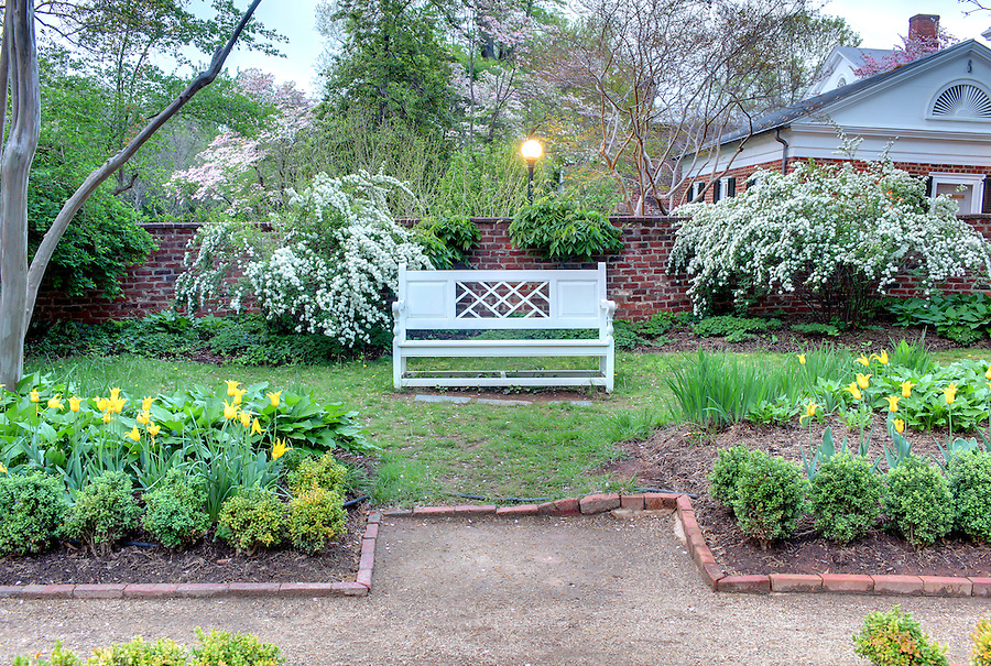 The University of Virginia pavilion garden V in spring on central grounds.