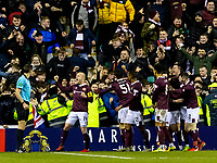 3rd March 2020; Easter Road, Edinburgh, Scotland; Scottish Premiership Football, Hibernian versus Heart of Midlothian; Hearts team celebrates after scoring their third goal for 0-3 in the 80th minute from Washington