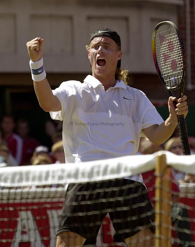 Photo:Ken Brown.18.6.2000 Stella Artois Tennis Championship.Lleyton Hewitt celebrates his victory over Pete sampras.