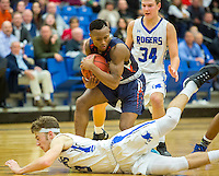 NWA Democrat-Gazette/JASON IVESTER<br /> Lexus Hobbs, Rogers Heritage senior, secures a loose ball on Tuesday, Jan. 12, 2016, during their game at Rogers High.