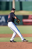 AZL Indians 1 starting pitcher Raymond Burgos (46) delivers a pitch during an Arizona League playoff game against the AZL Rangers at Goodyear Ballpark on August 28, 2018 in Goodyear, Arizona. The AZL Rangers defeated the AZL Indians 1 7-4. (Zachary Lucy/Four Seam Images)