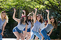 Lambda Theta Alpha Latin Sorority members perform in the Mezcla Cultural Showcase on the Abele Quad during Latino Student Recruitment Weekend.
