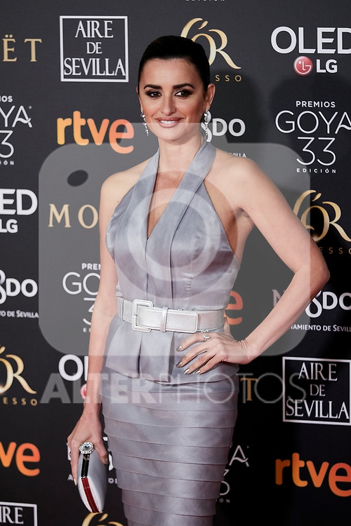 Penelope Cruz attends to 33rd Goya Awards at Fibes - Conference and Exhibition  in Seville, Spain. February 02, 2019. (ALTERPHOTOS/A. Perez Meca)