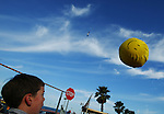 "Daniel Conneally <cq>, 9 and from Clearwater, plays' ""volleyball"" Sunday, February 20, 2005, before the Daytona 500 at Daytona International Speedway in Daytona Beach. This is Conneally's first time at the Daytona 500. (AP Photo/Daytona Beach News-Journal, Chad Pilster)"