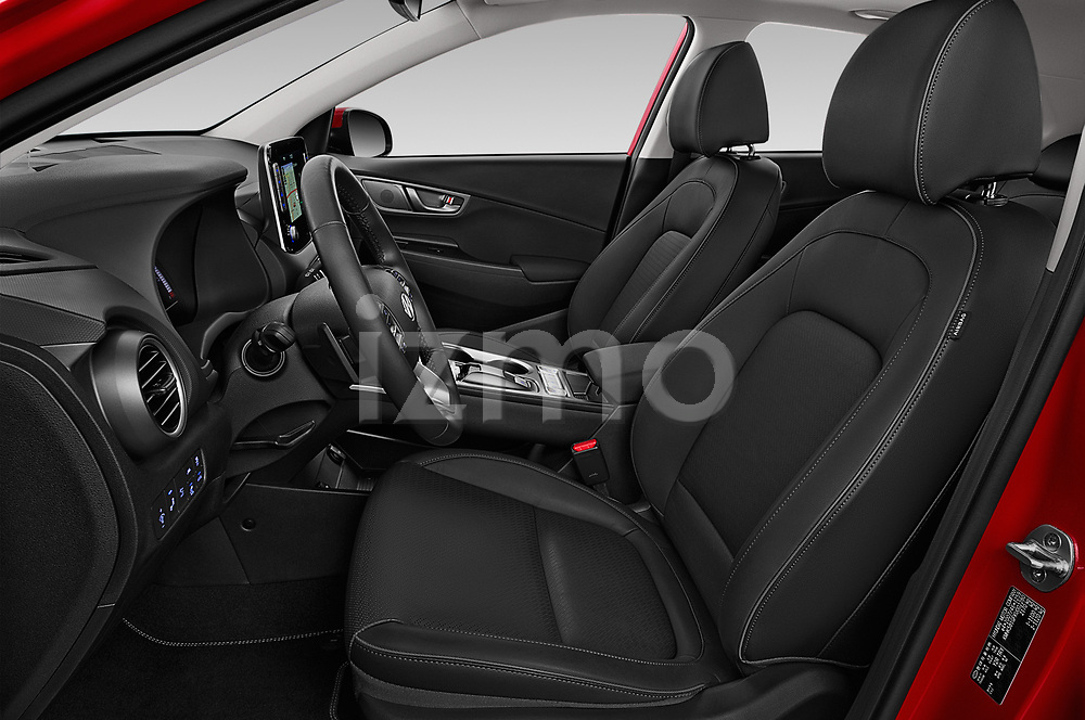 Front seat view of a 2019 Hyundai Kona EV Sky 5 Door SUV front seat car photos