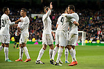 Real Madrid's Gareth Bale, Karim Benzema and Cristiano Ronaldo celebrating a goal during La Liga match. March 20,2016. (ALTERPHOTOS/Borja B.Hojas)