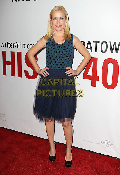 "Angela Kinsey.""This Is 40"" Los Angeles Premiere held at Grauman's Chinese Theatre, Hollywood, California, USA..December 12th, 2012.full length dress blue sleeveless black polka dot top tulle hands on hips.CAP/ADM/KB.©Kevan Brooks/AdMedia/Capital Pictures."