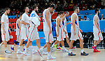 Serbia's national basketball team head players after European championship semi-final basketball match between Serbia and Lithuania on September 18, 2015 in Lille, France  (credit image & photo: Pedja Milosavljevic / STARSPORT)