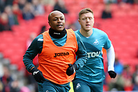 Andre Ayew of Swansea City during the pre-match warm-up prior to the Premier League match between Manchester United and Swansea City at the Old Trafford, Manchester, England, UK. Saturday 31 March 2018