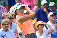 Jennifer Song (USA) watches her tee shot on 1 during Saturday's third round of the 72nd U.S. Women's Open Championship, at Trump National Golf Club, Bedminster, New Jersey. 7/15/2017.<br /> Picture: Golffile | Ken Murray<br /> <br /> <br /> All photo usage must carry mandatory copyright credit (&copy; Golffile | Ken Murray)