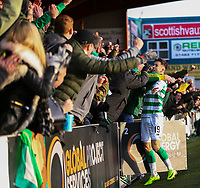 1st December 2019; Global Energy Stadium, Dingwall, Highland, Scotland; Scottish Premiership Football, Ross County versus Celtic; Mikey Johnston of Celtic celebrates with the Celtic fans after he scored and made it 4-1 in the 73rd minute - Editorial Use