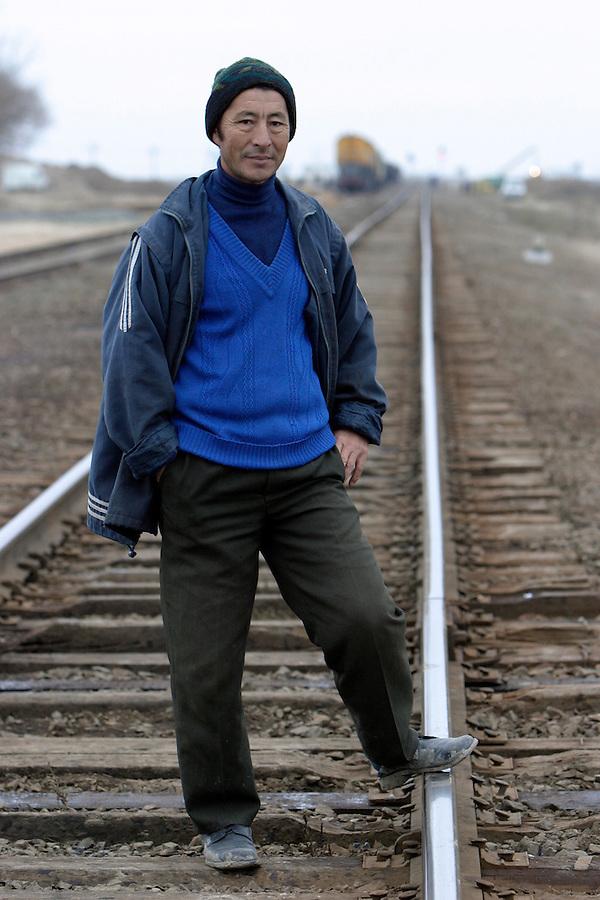 Karabaton, Kazakhstan, 16/11/2003..Railway worker Shaferbae Basarov.