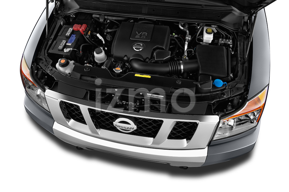 High angle engine detail of a  2013 Nissan Titan SL Crew Cab 2wd
