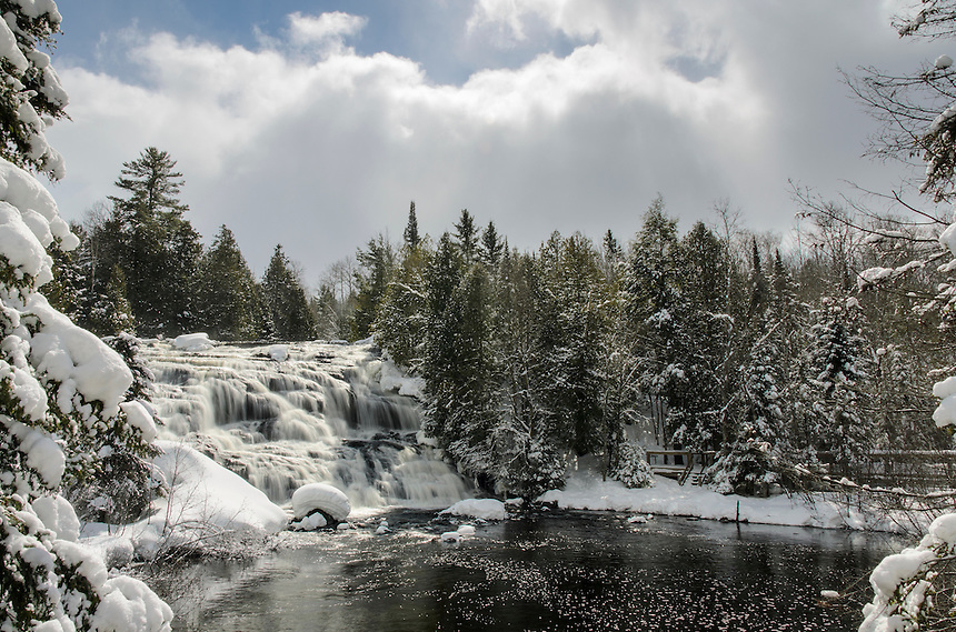 Fresh snow and sun at the beautiful Bond Falls. Paulding, MI