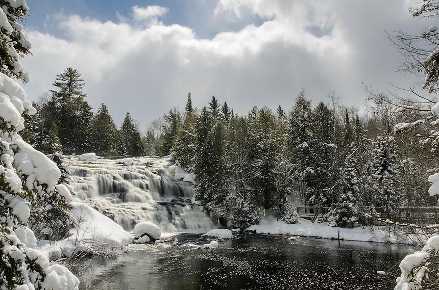 Fresh snow and sun at the beautiful Bond Falls. Paulding, MI
